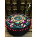 Jivan keleti textil puff, ülőpárna fekete