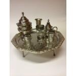 Antik marokkói teázási kellék tartó tál S