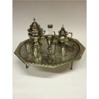 Antik marokkói teázási kellék tartó tál L
