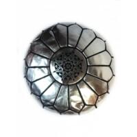 Iskandar keleti bőr puff, ülőpárna ezüst