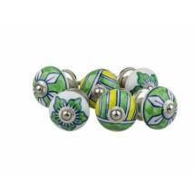 Zöld virágos porcelán bútor fogantyú