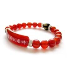 Tibeti buddhista piros achát 6 mantrás karkötő