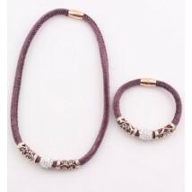 Shamballa lila nyaklánc karkötő szett