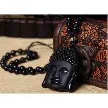 Áldott Buddha fej nyaklánc obszidiánból