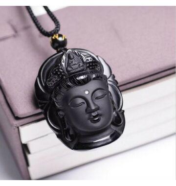 Nyakba akasztható Buddha fej obszidiánból
