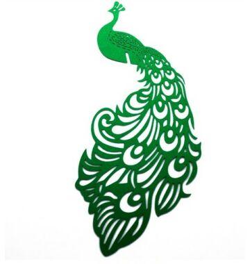 Páva alakú  pohárdisz  zöld 10db/csomag