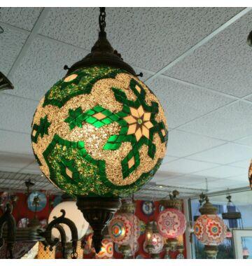 Zöld mozaik török mennyezeti lámpa