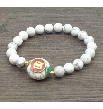 Fehér gyöngy mala tibeti Om osztóval