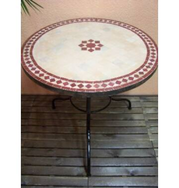 Marrakeshi BILBAO mozaik asztal natúr/bordó