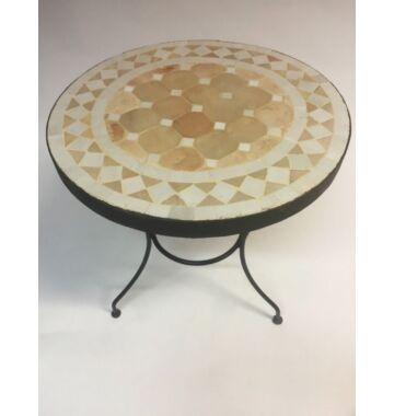 Marrakeshi mozaik asztal natúr/fehér