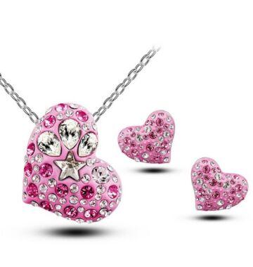 Ragyogó Pink szív szett