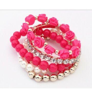 Rose n' Pearl pink karkötő szett
