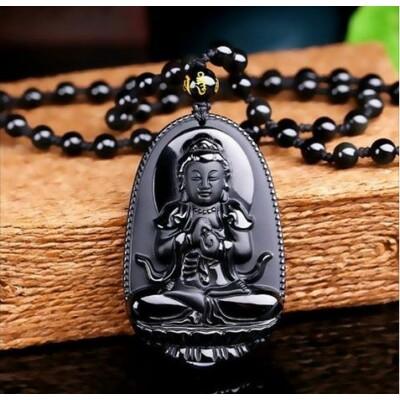 Áldott Buddha nyaklánc obszidiánból