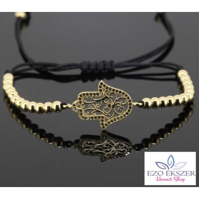 Fatima keze karkötő arany színű gyönggyel