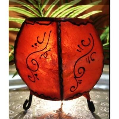 Hessa gömbölyű henna lámpa narancs