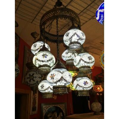 Török mozaik fehér 8 búrás lámpa