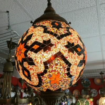 Sárga mozaik török mennyezeti lámpa