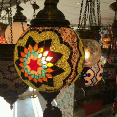 Színes mozaik török mennyezeti lámpa