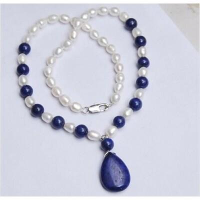 Akoya & lapis lazulis nyaklánc