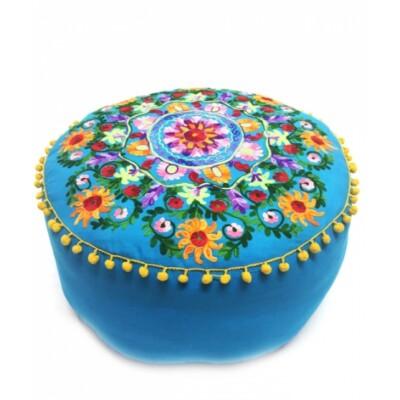 Jivan keleti textil puff, ülőpárna kék