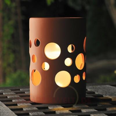 Solár terrakotta LED lámpa hengeres