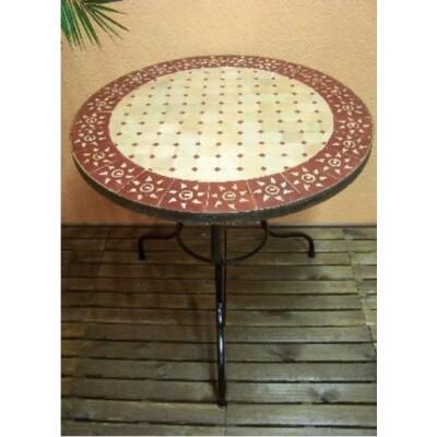 Marrakeshi SUN mozaik asztal natúr/bordó