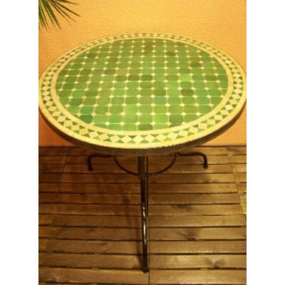 Marrakeshi mozaik asztal natúr/zöld