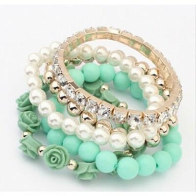 Rose n' Pearl zöld karkötő szett türkiz