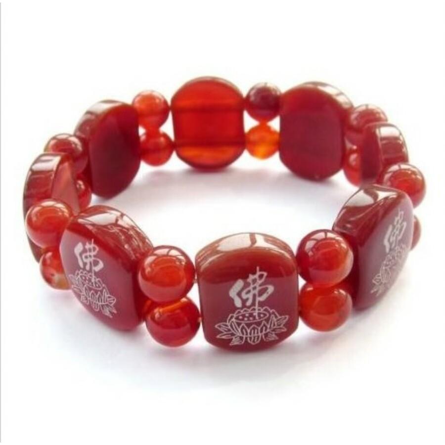 Piros achát lótuszvirág mintával