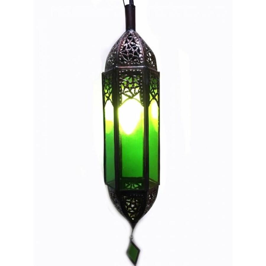 Fida marokkói mennyezeti lámpa zöld