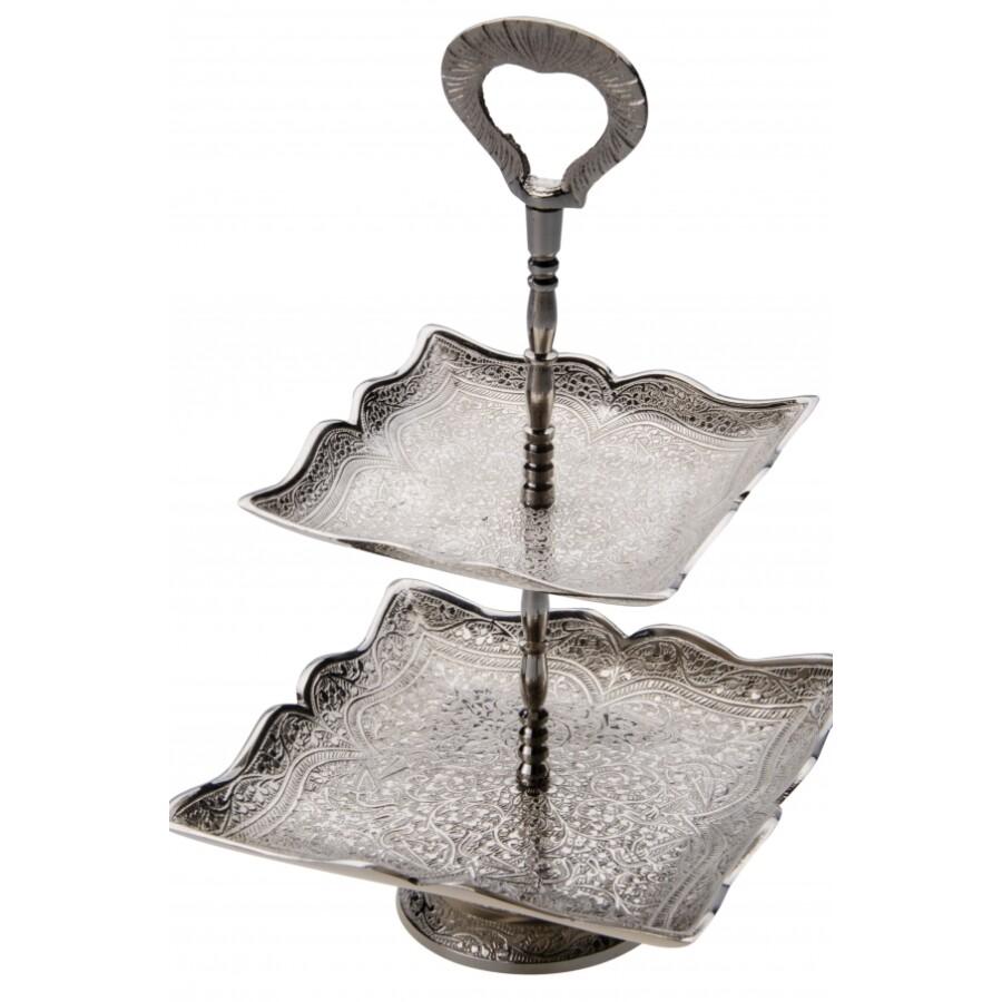 Ayat 3 részes ezüst marokkói  tálca 27 cm
