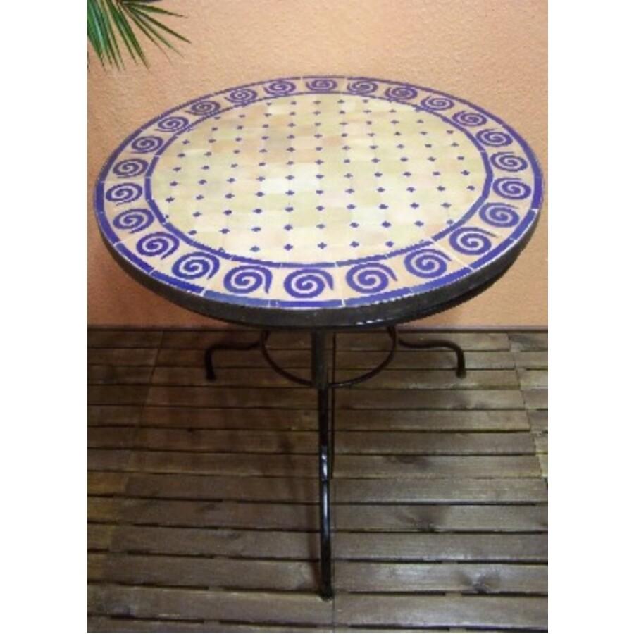 Marrakeshi SPIRAL mozaik asztal natúr/kék