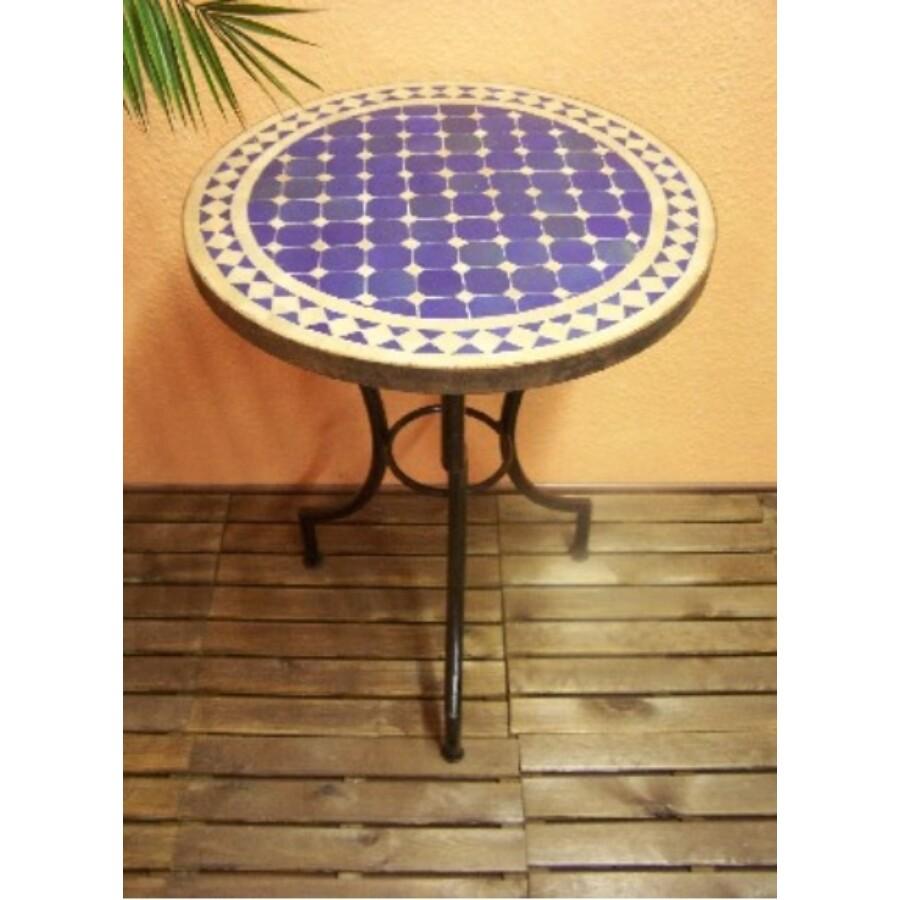 Marrakeshi mozaik asztal natúr/kék