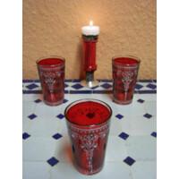 Andalous marokkói tea pohár piros