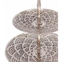 Aghdas marokkói emeletes süteményes tálca ezüst szinű