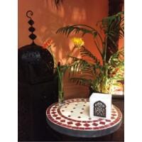 Marrakeshi mozaik asztal natúr/bordó