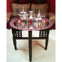 Mehdia marokkói teázó asztal ezüst színben 60 cm