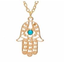 Fatima keze nyaklánc kék kővel