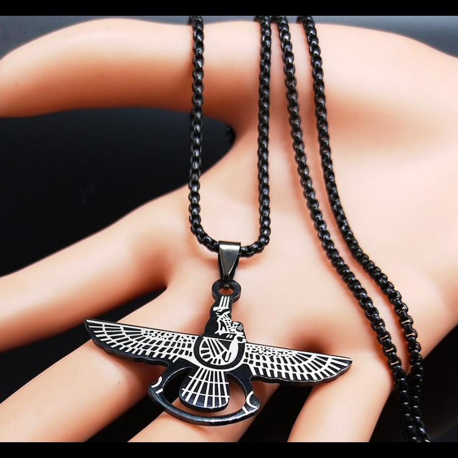 Zoroaster fekete nemesacél nyaklánc