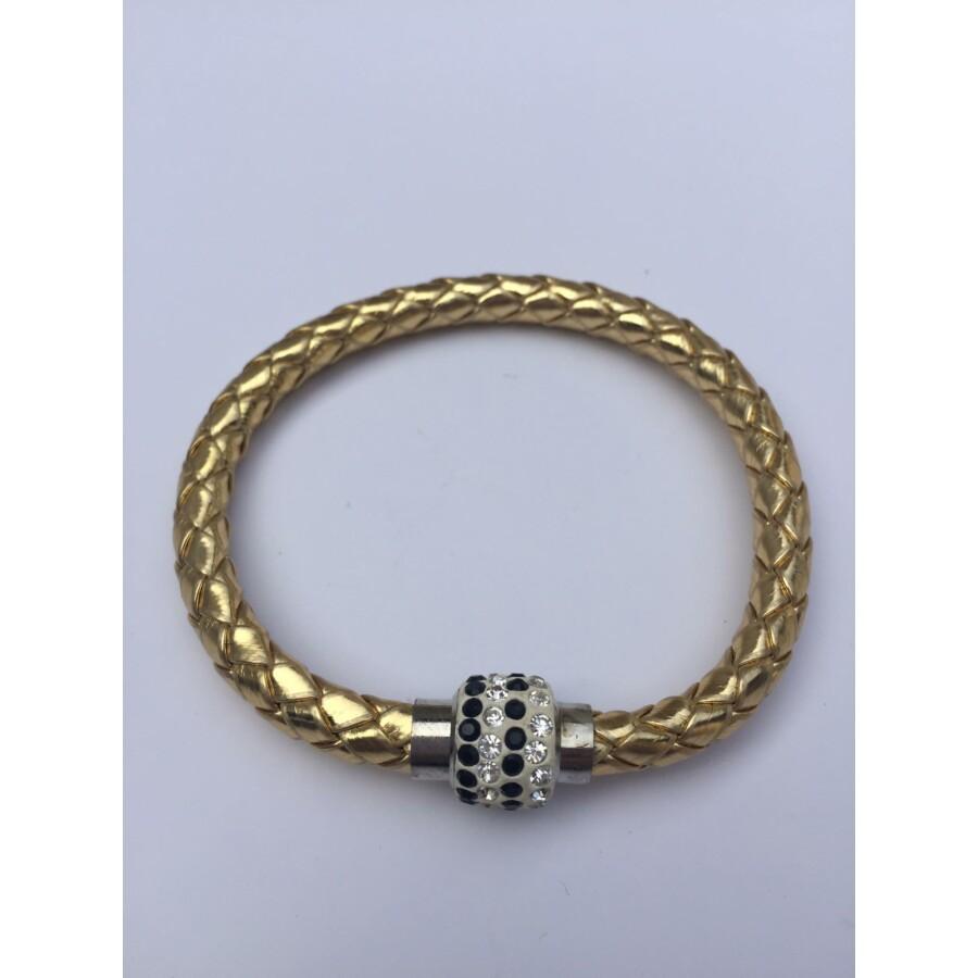 Shamballa fonott műbőr karkötő arany