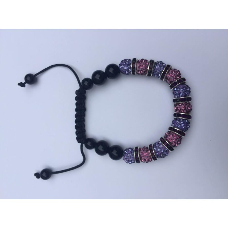 Shamballa karkötő lila - rózsaszín 11 kristálygömbös