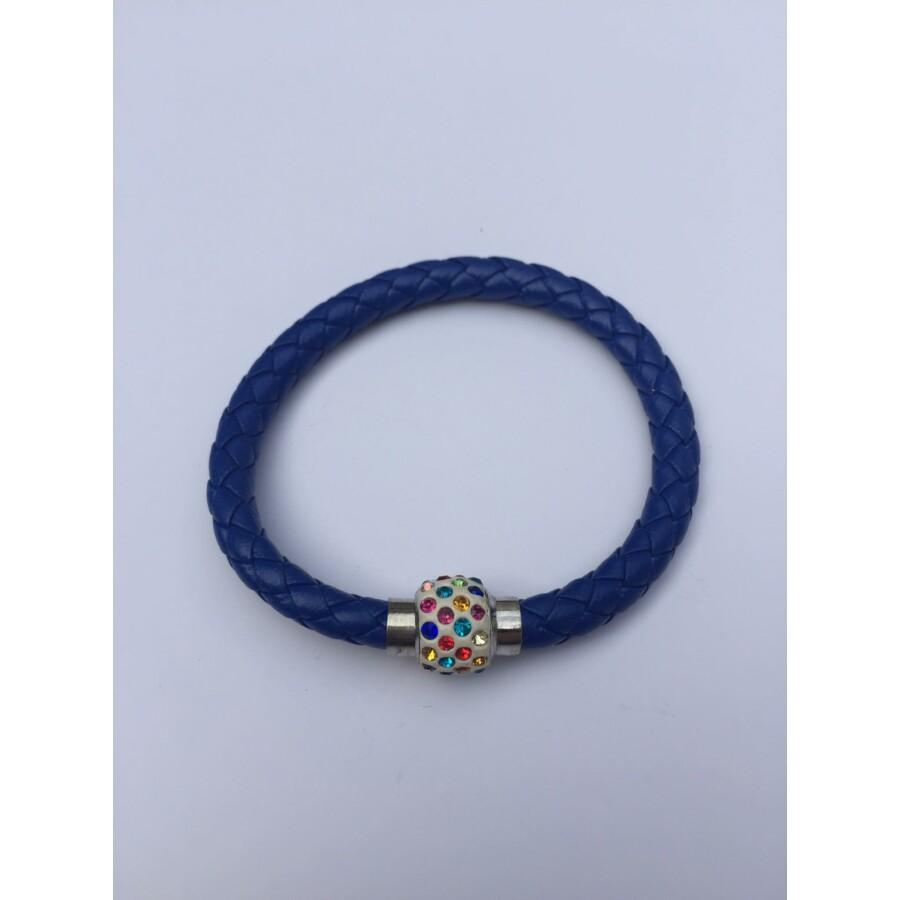 Shamballa fonott műbőr karkötő kék - színes