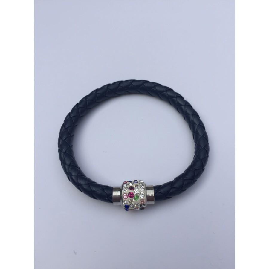 Shamballa fonott műbőr karkötő sötétkék - színes