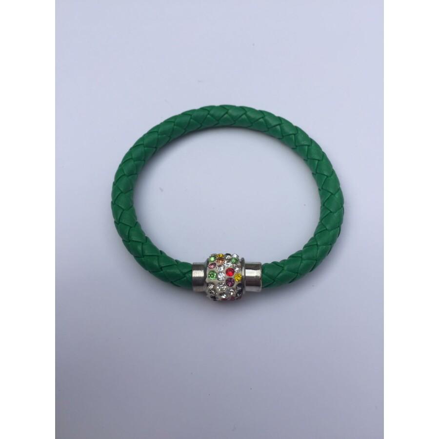 Shamballa fonott műbőr karkötő sötétzöld - színes