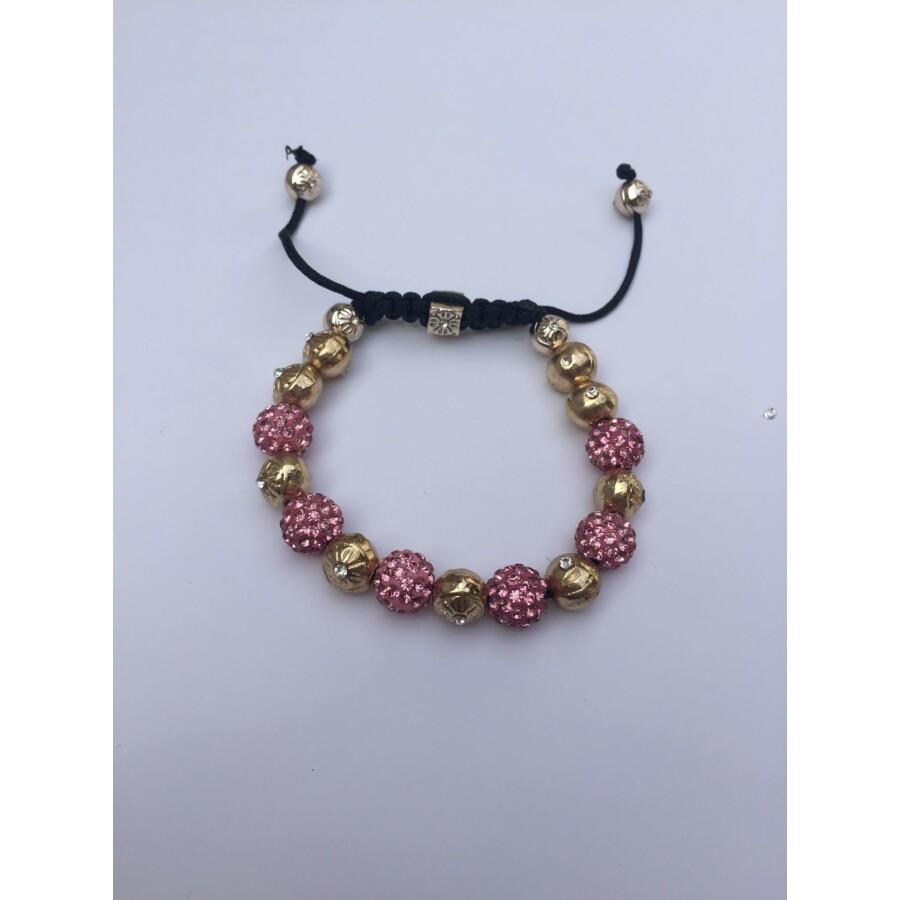 Rózsaszín - Arany Shamballa karkötő