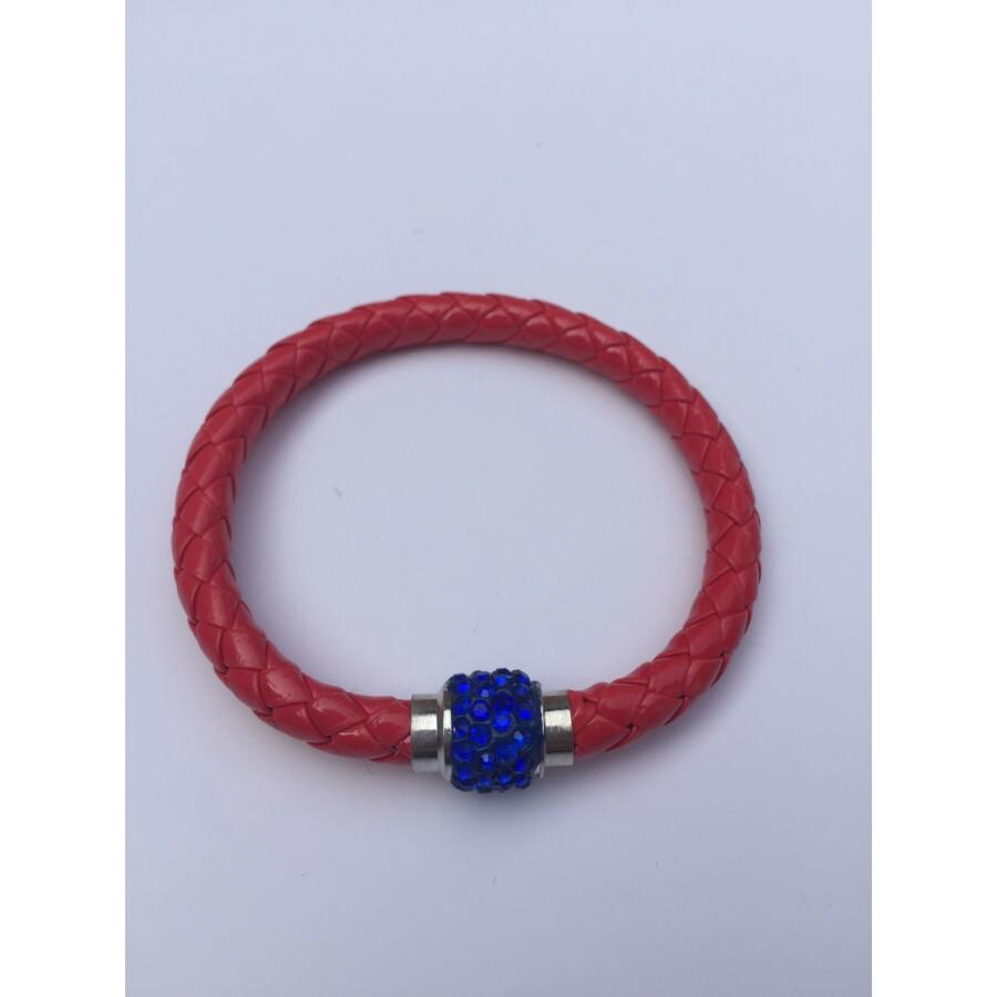 Shamballa fonott műbőr karkötő piros - kék