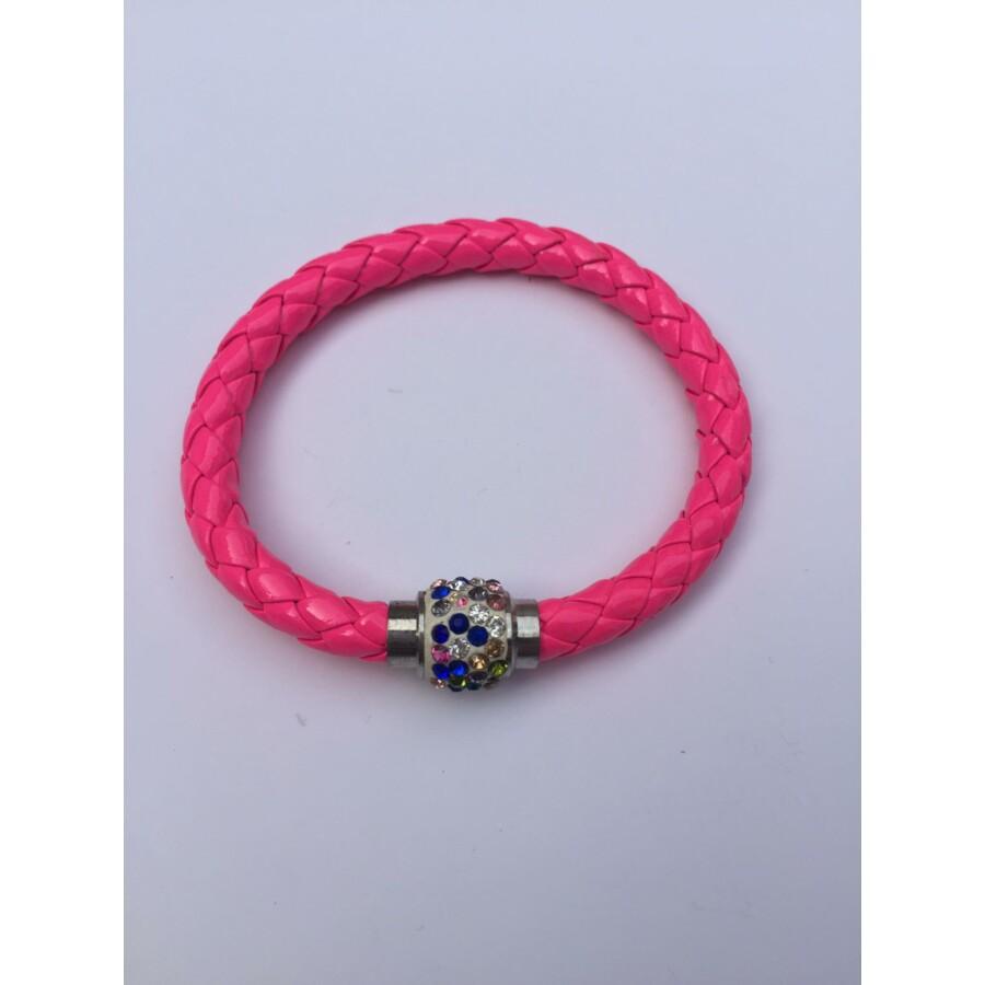 Shamballa fonott műbőr karkötő rózsaszín - színes