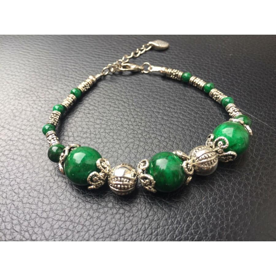 Zöld köves tibeti ékszer