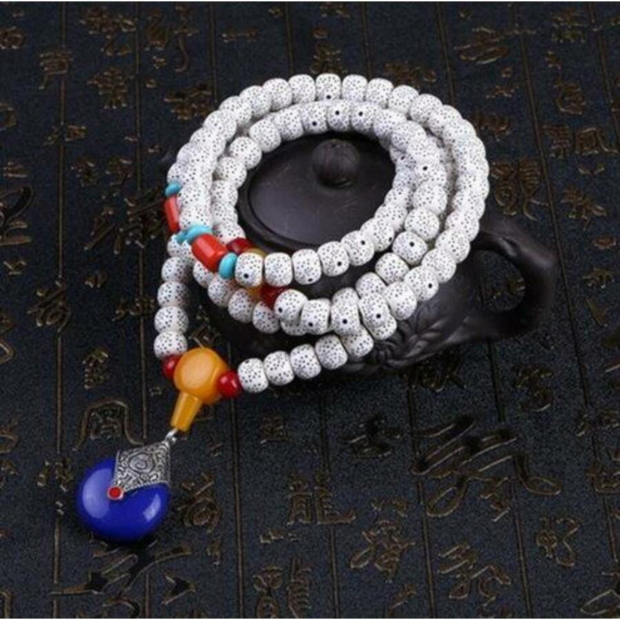 Kék medálos tibeti buddhista mala 108 szemes karkötő