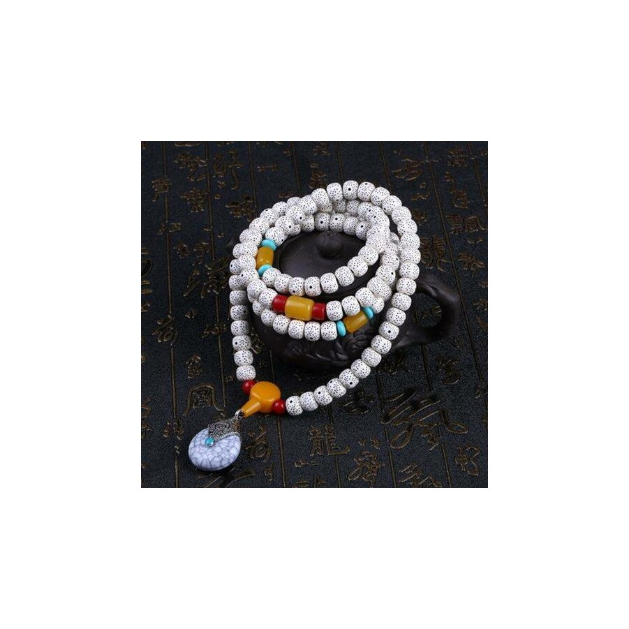 Fehér medálos tibeti buddhista mala 108 szemes karkötő